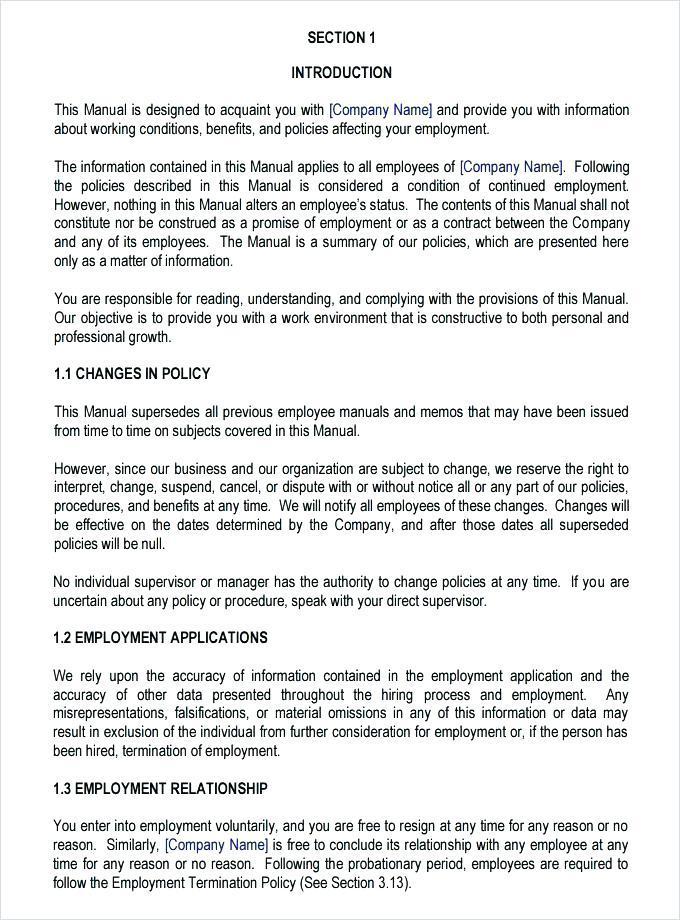 Employment Handbook Templates