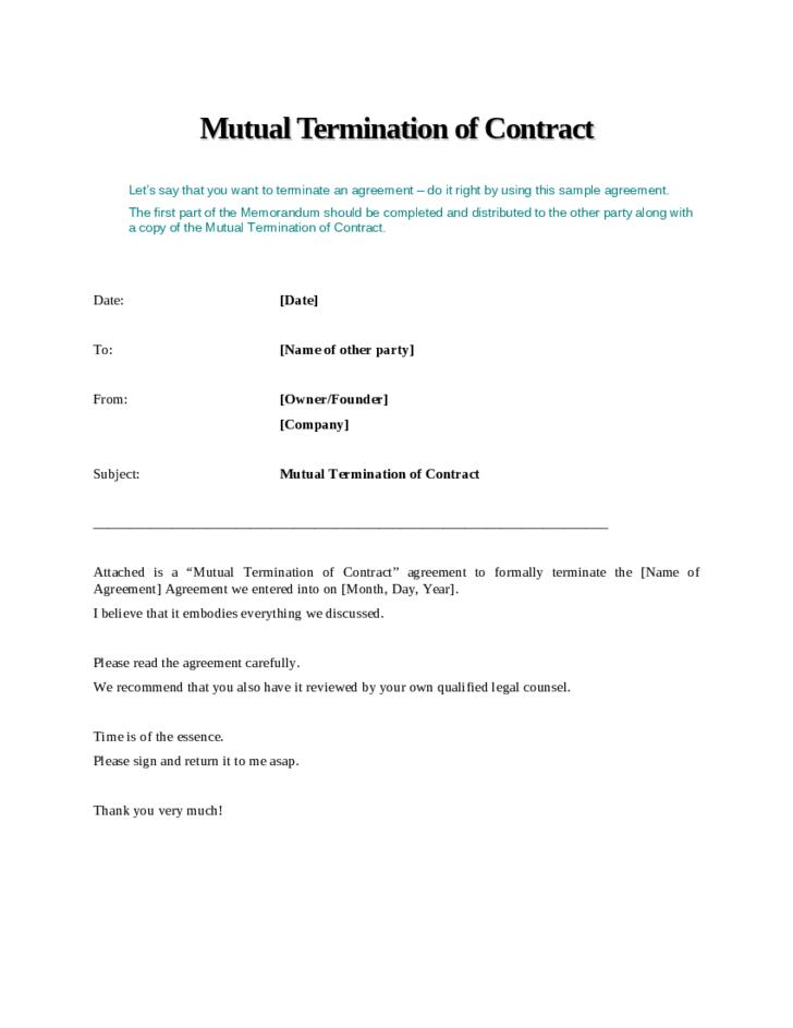 Employment Termination Contract Template