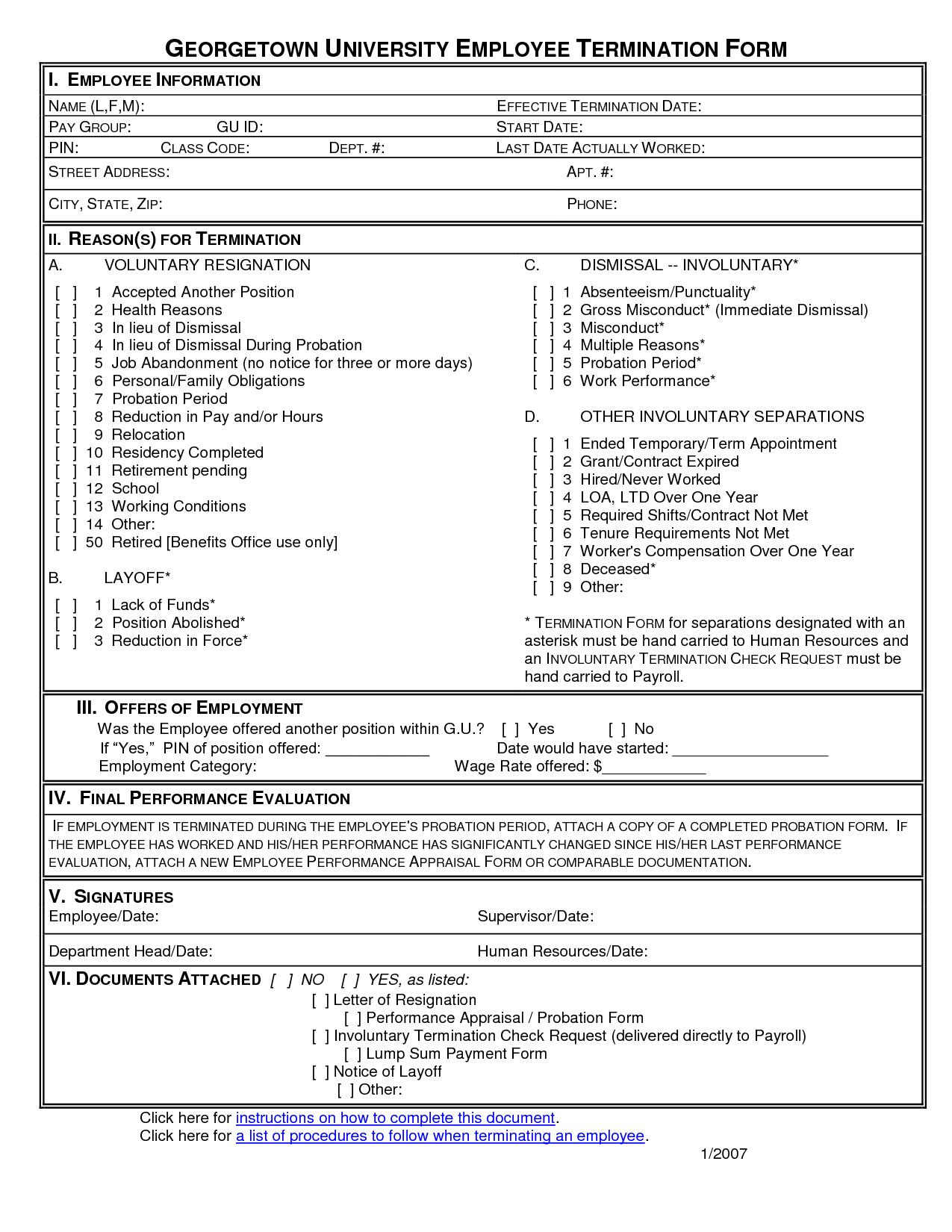 Employment Termination Form Template Free