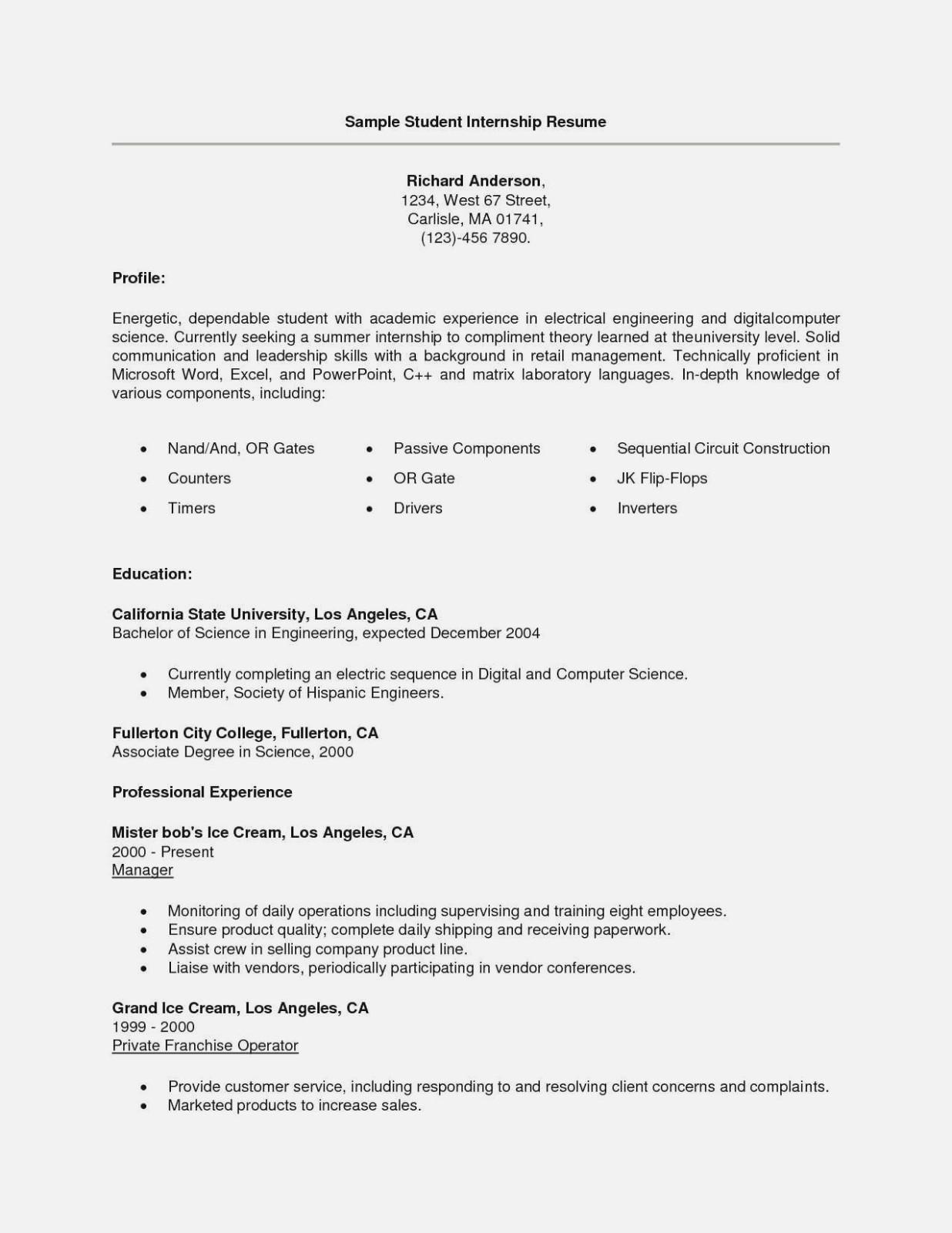 Engineering Internship Resume Template Word
