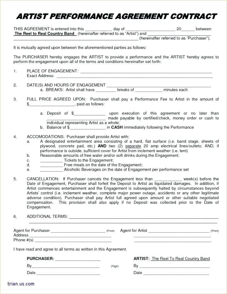 Entertainment Agent Contract Template