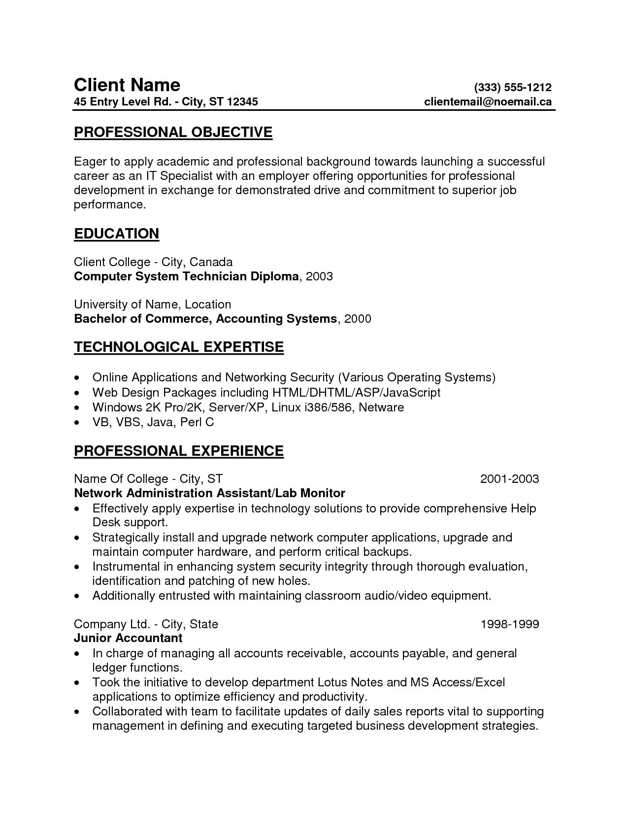 Entry Level Dental Assistant Resume Template