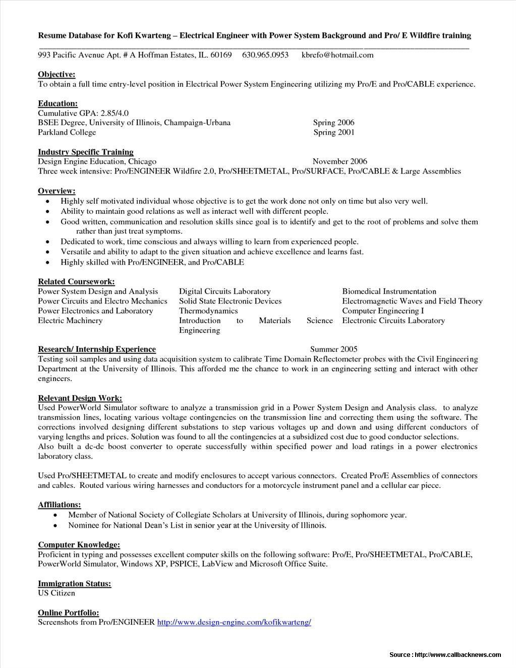 Entry Level Electrical Engineer Resume Templates
