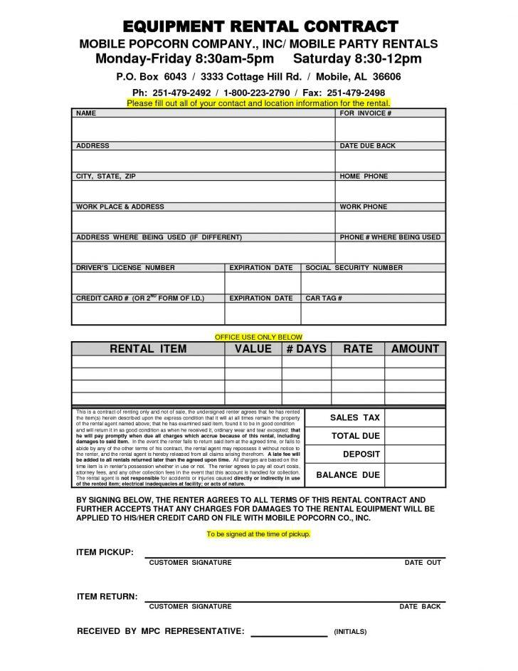 Equipment Lease Form Template