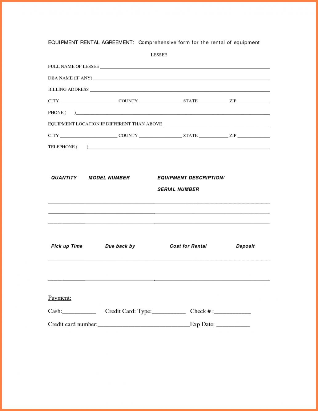 Equipment Rental Agreement Word Template