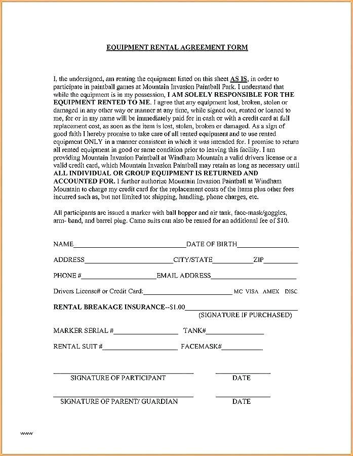 Equipment Rental Form Template Free