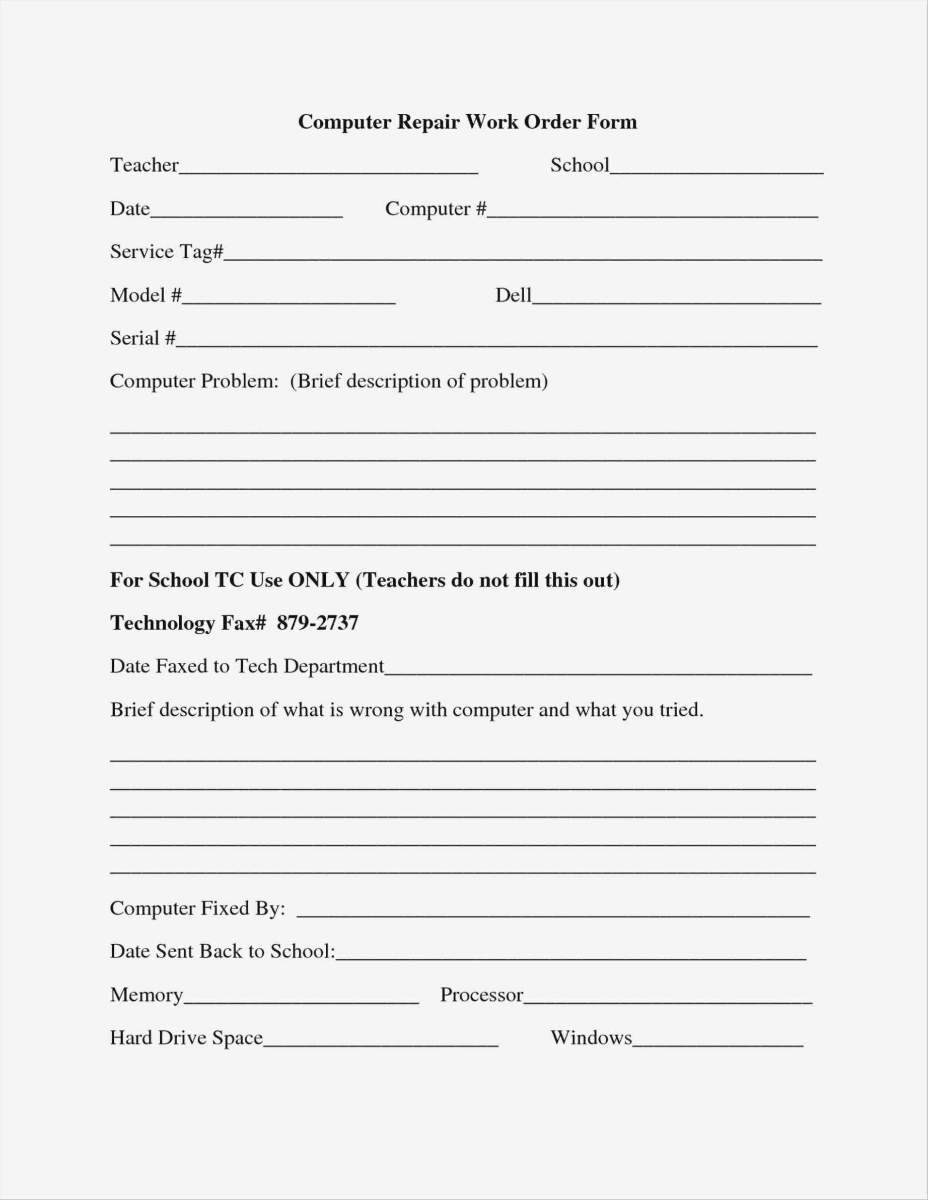 Equipment Repair Request Form Template
