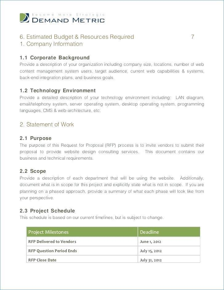 Erp Request For Proposal Template