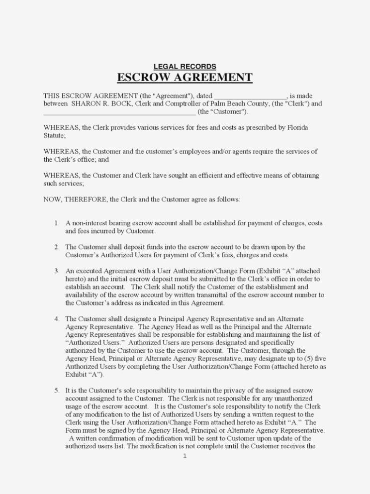 Escrow Agreement Form Free