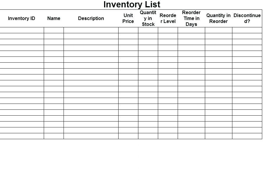 Estate Inventory Template Free