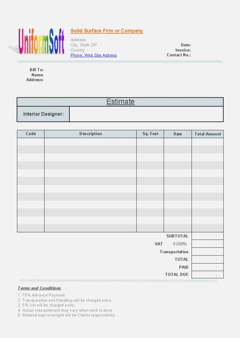 Estimate Invoice Form