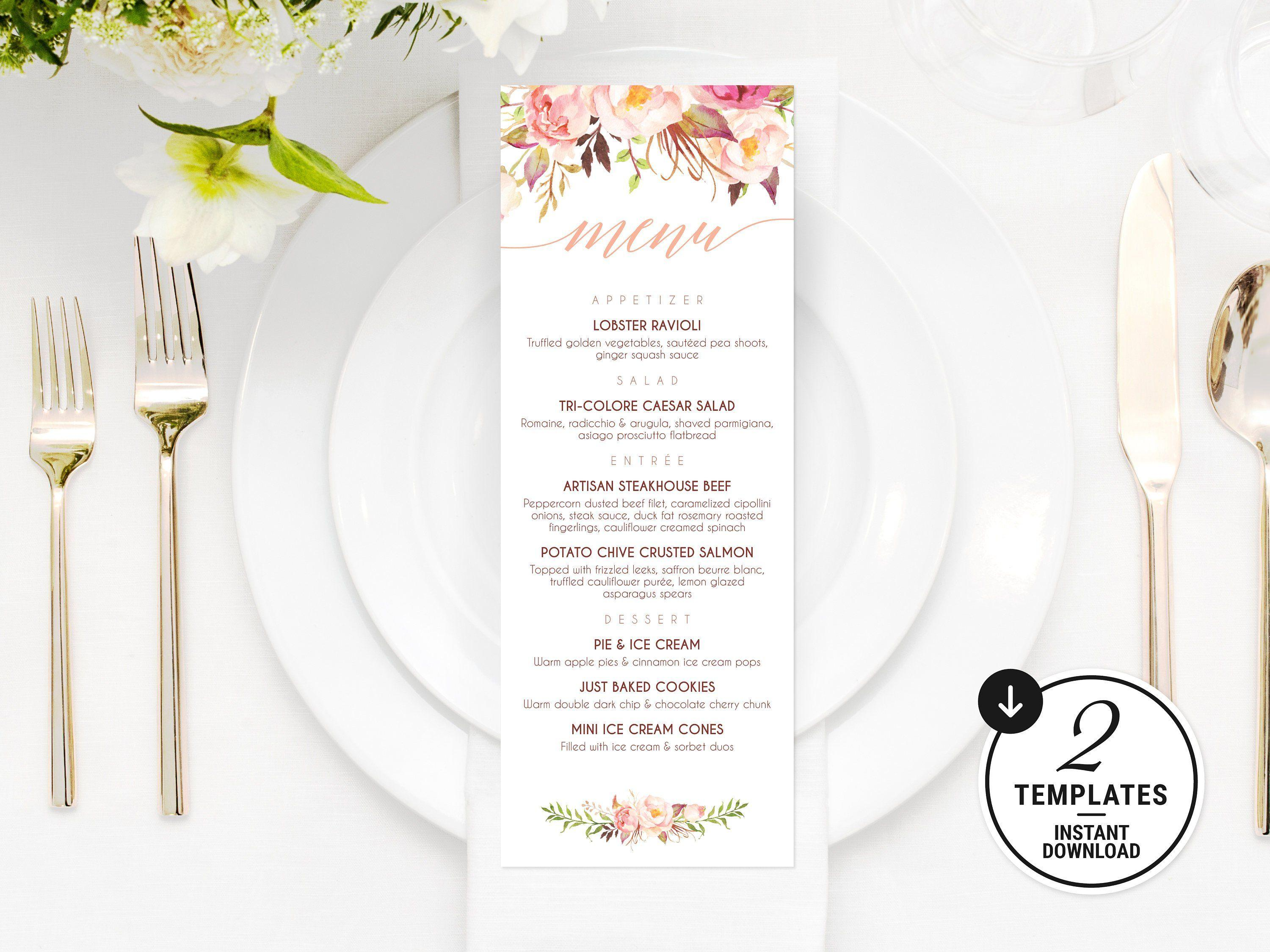 Etsy Wedding Dinner Menu Template