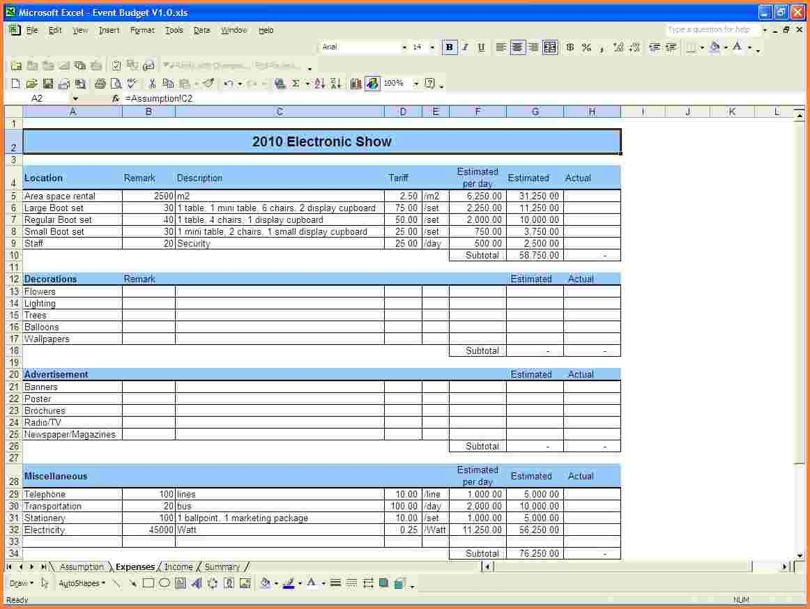 Event Budget Spreadsheet Template Free