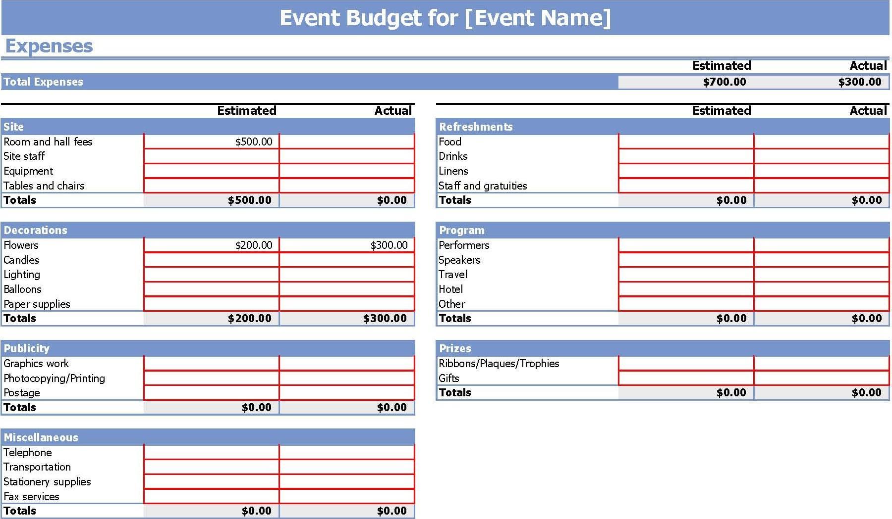 Event Budget Spreadsheet Template