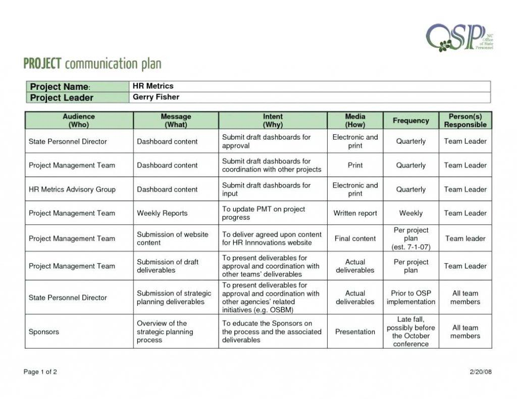 Event Communication Plan Template Excel