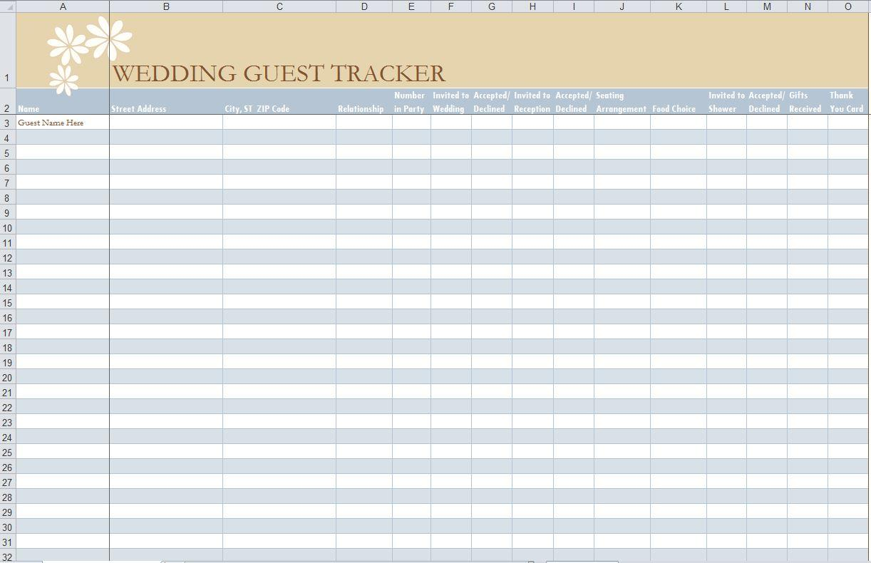 Event Guest List Template Excel