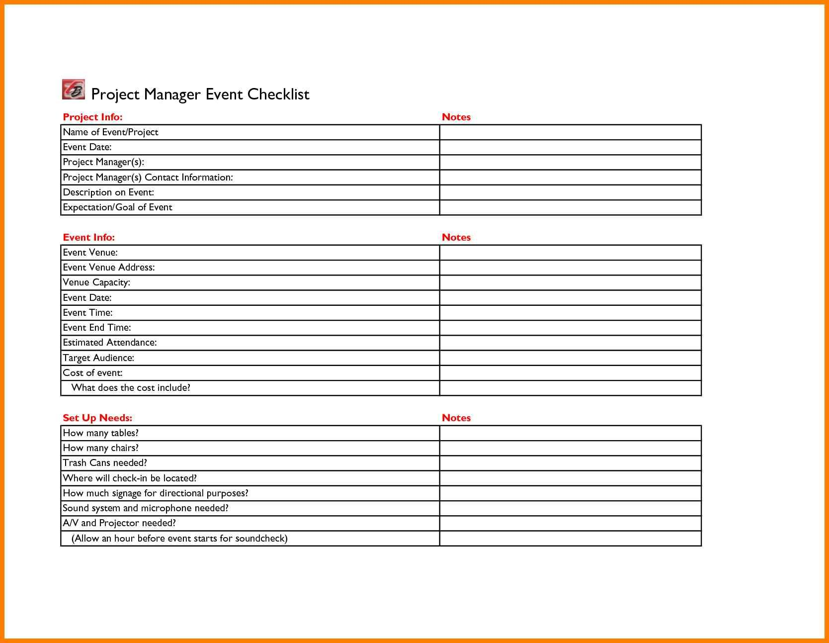 Event Planner Template Excel