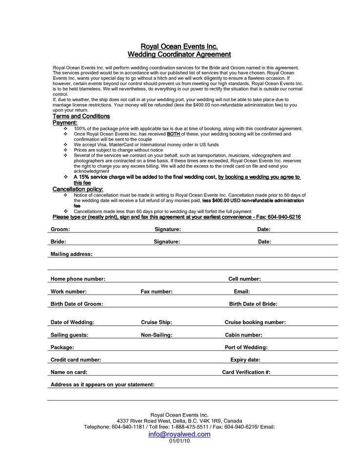 Event Planning Contract Form