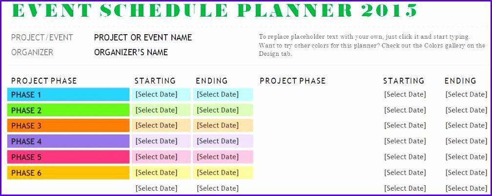 Event Schedule Template Excel