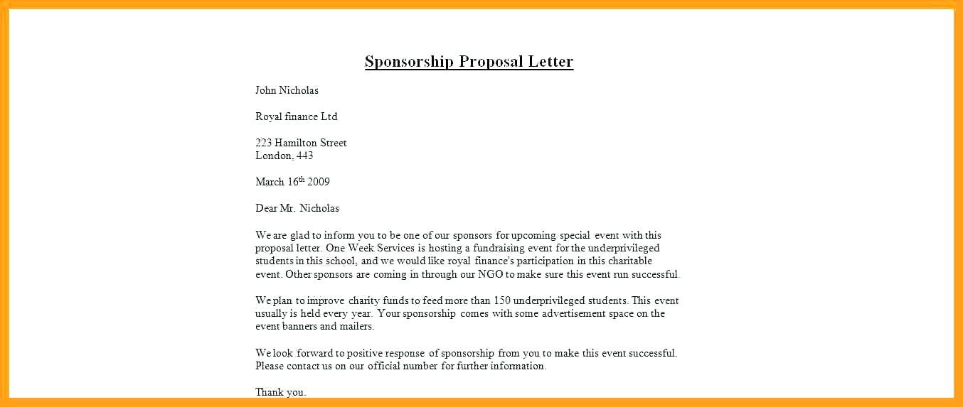 Event Sponsorship Proposal Template Free Doc
