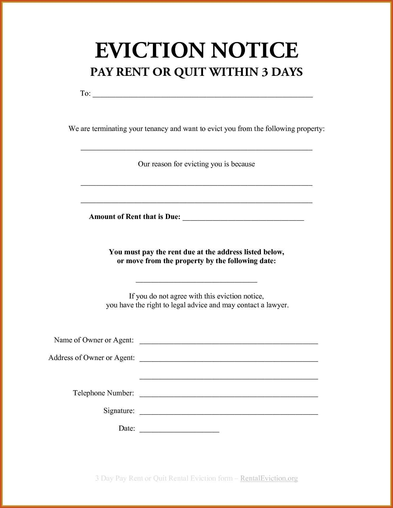 Eviction Notice California Template