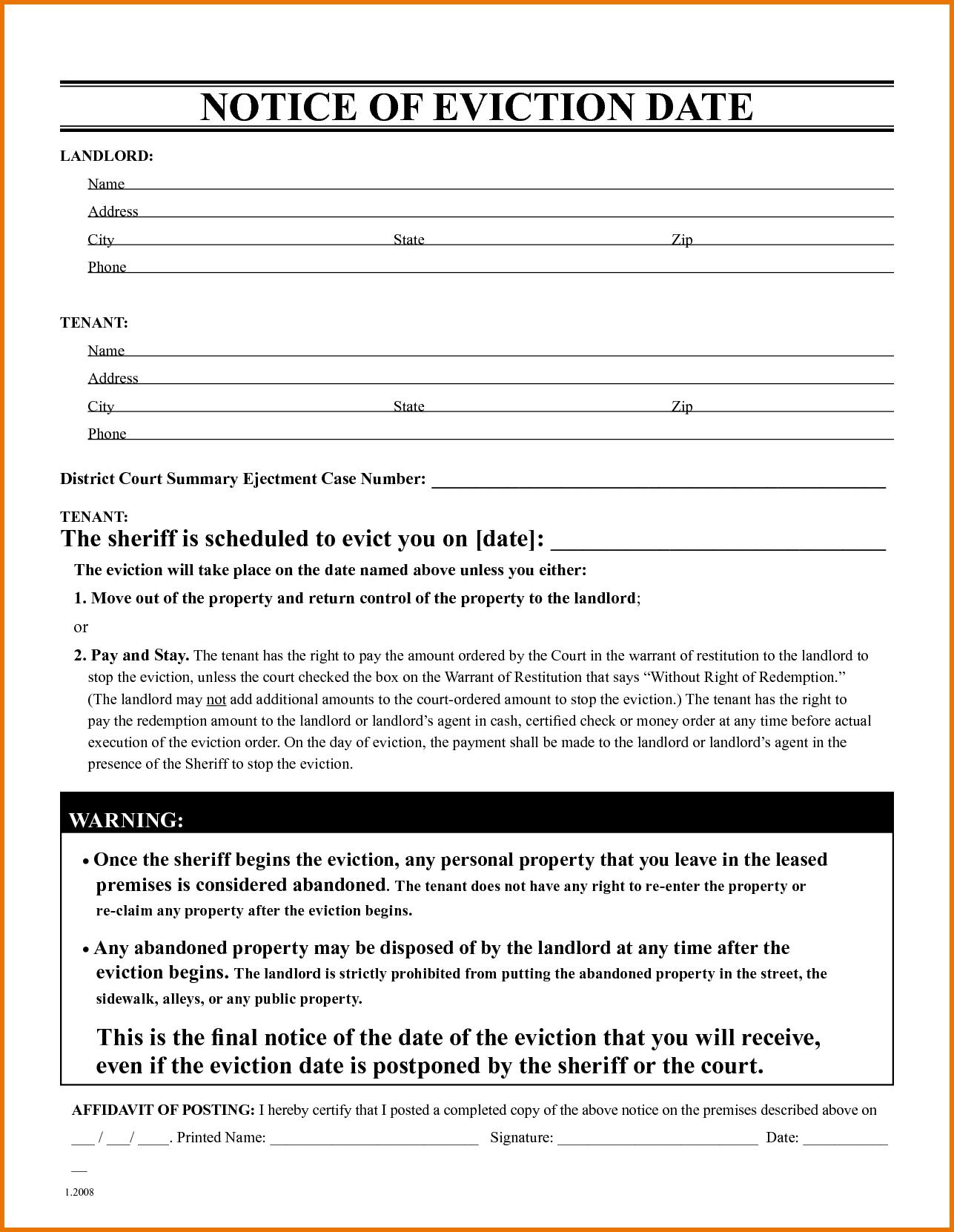Eviction Notice Form Free Template