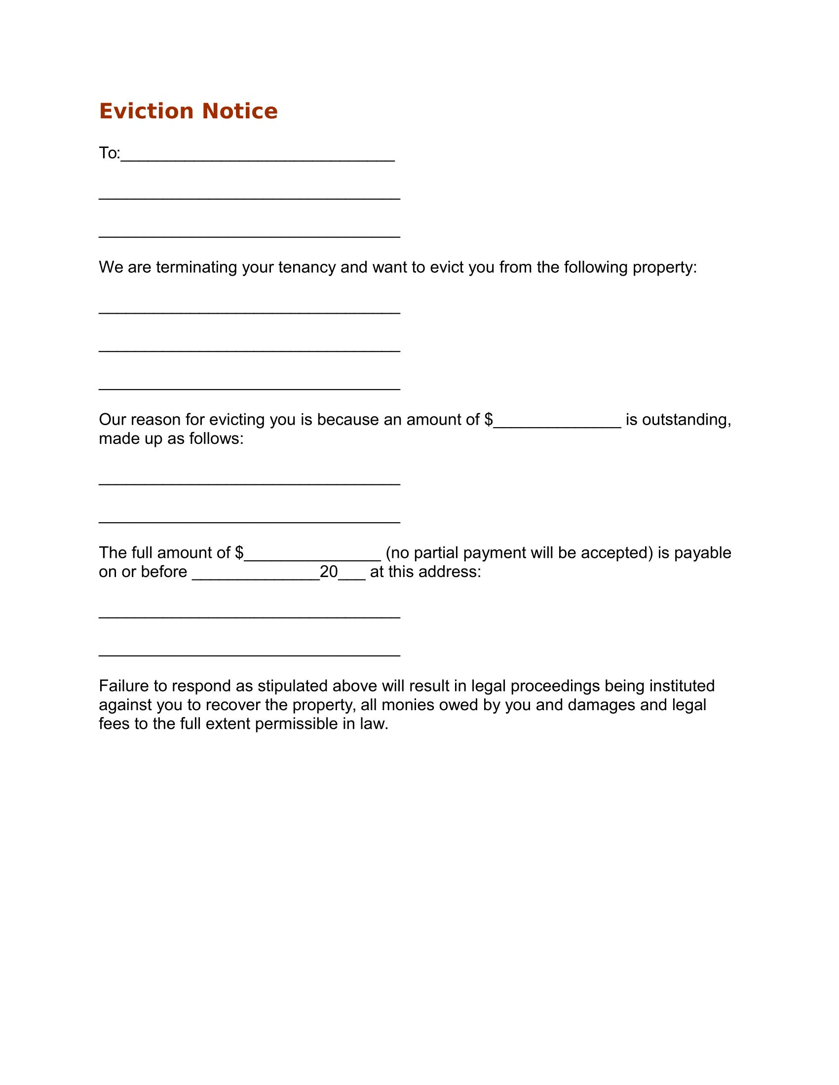 Eviction Notice Template Free Download