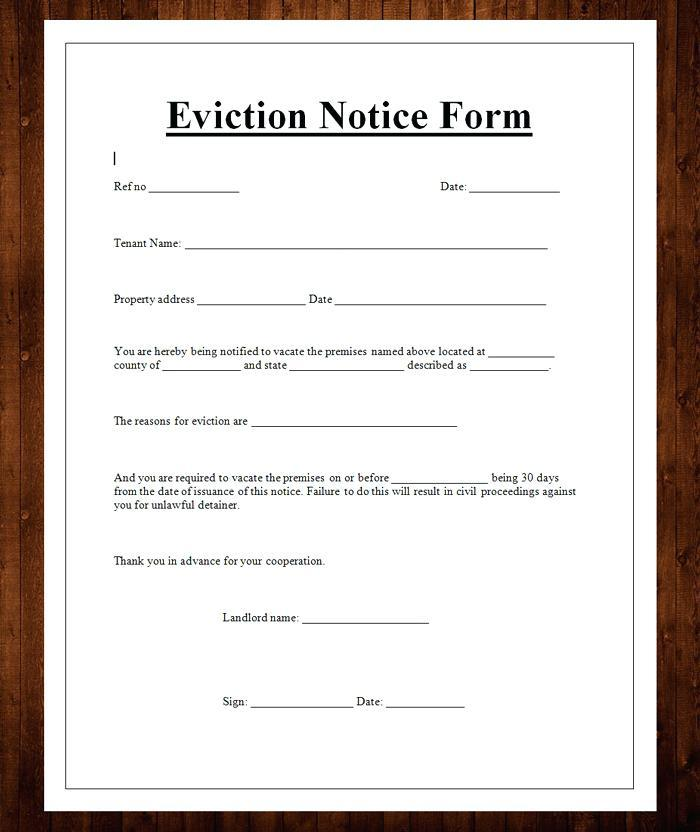 Eviction Notice Template Word Document