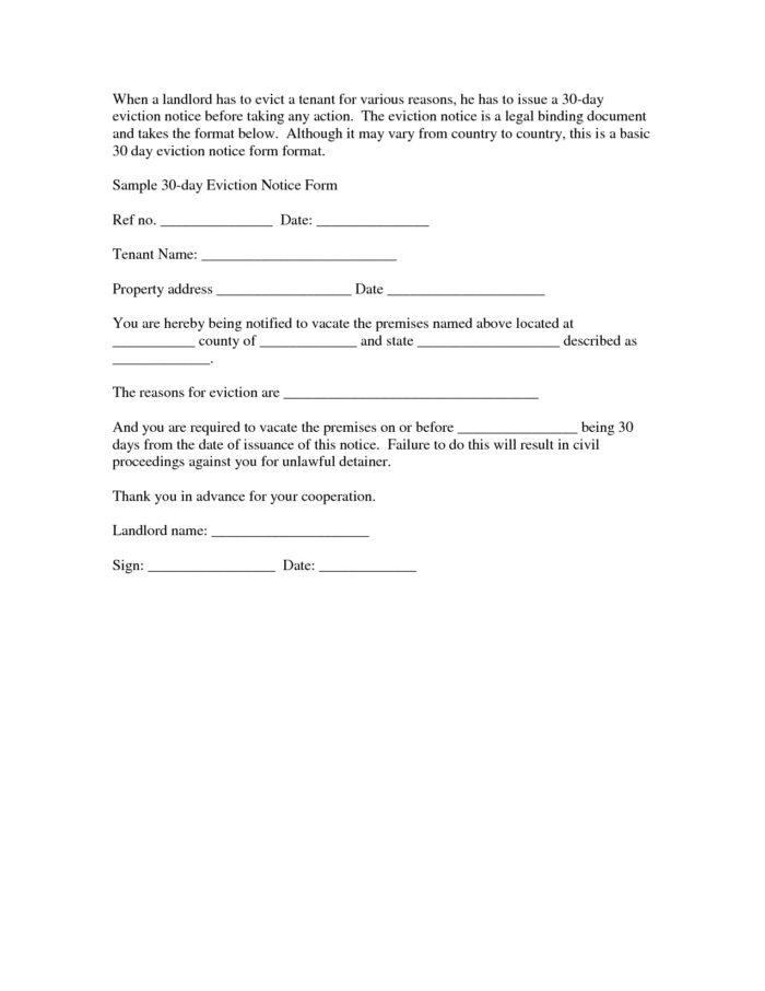 Example Eviction Letter To Family Member