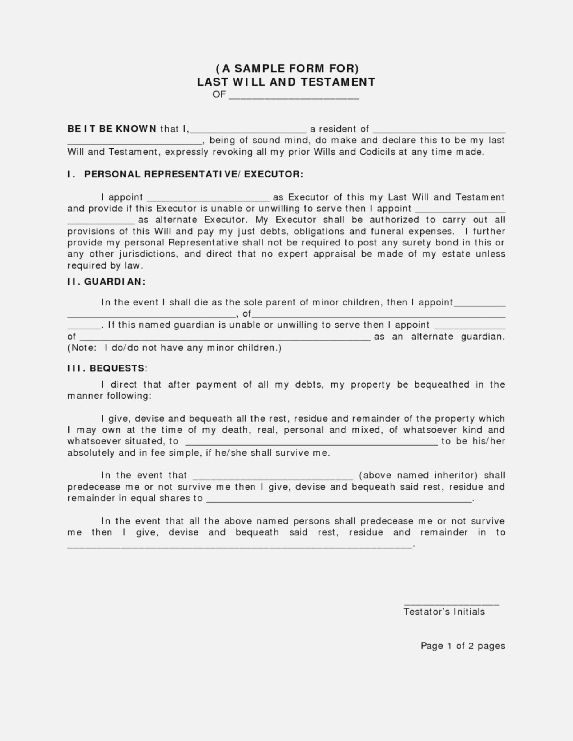 Example Of A Last Will And Testament Australia Template Free