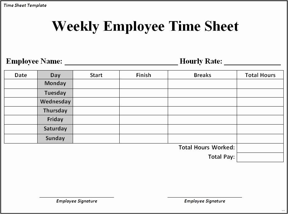 Example Of Employee Timesheet