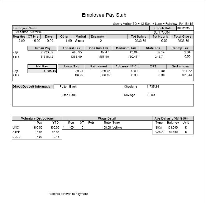 Example Pay Stubs