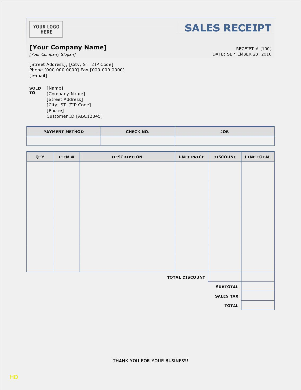 Example Sales Receipt