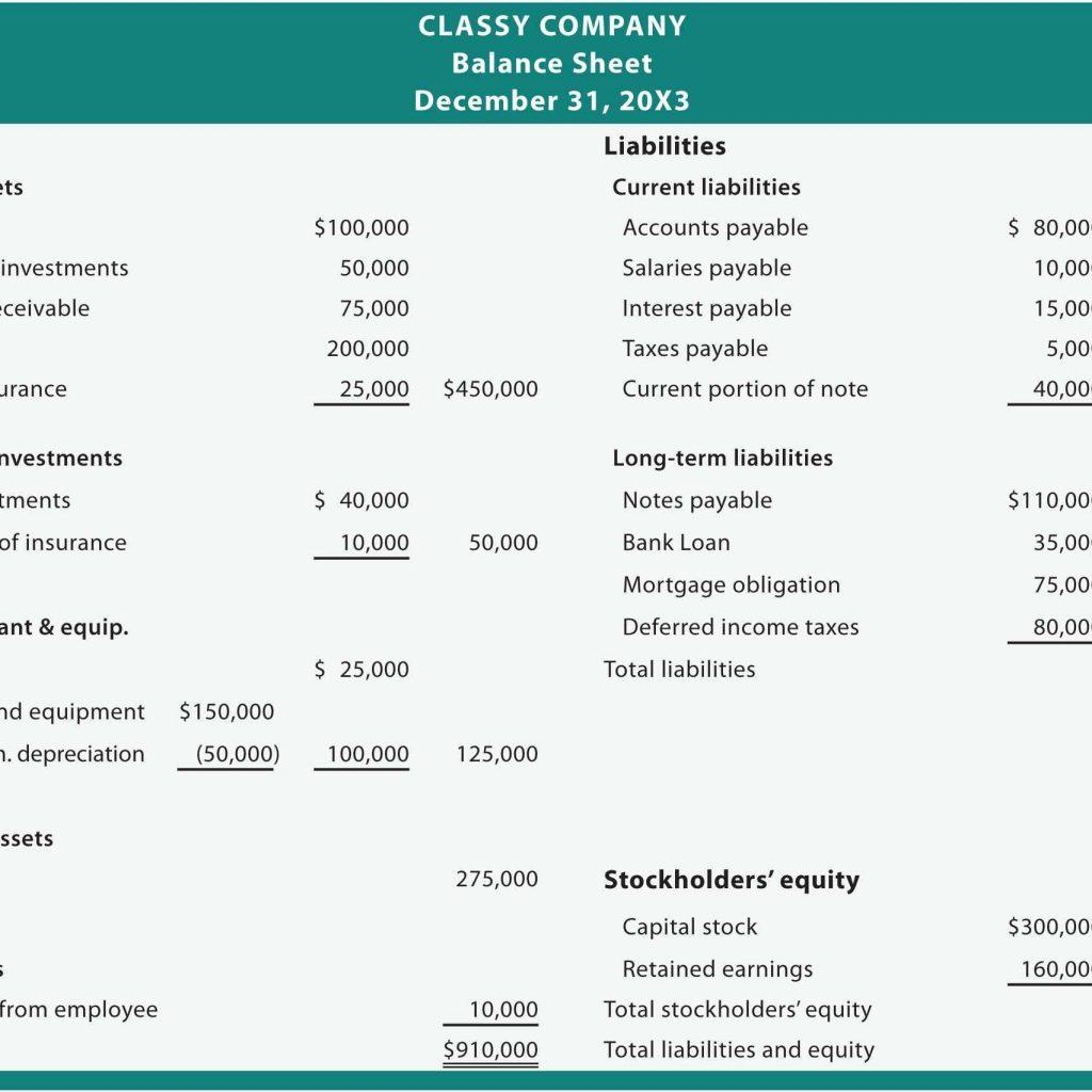 Excel Balance Sheet Template For Small Business
