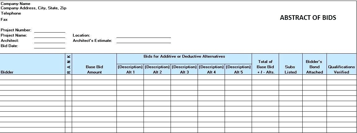 Excel Construction Proposal Template