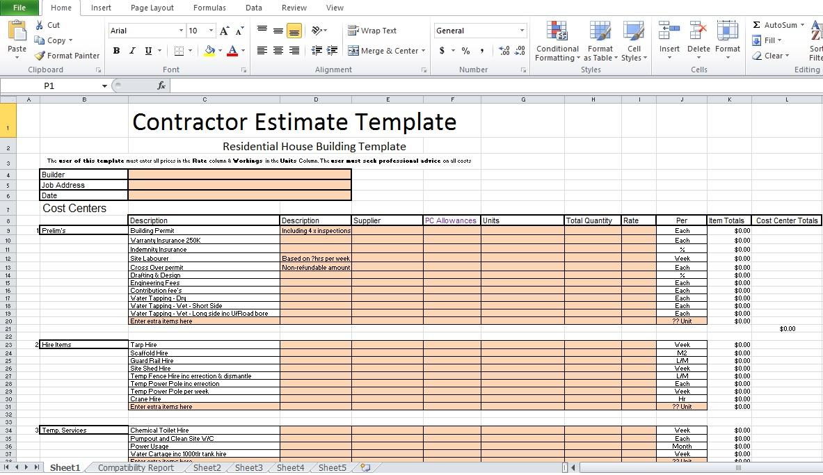 Excel Contractor Estimate Template
