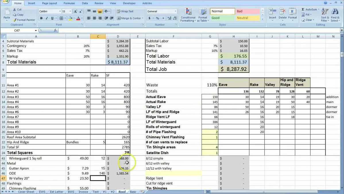 Excel Electrical Estimating Templates