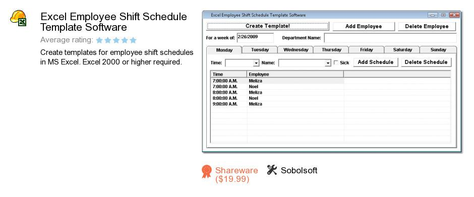 Excel Employee Shift Schedule Template Software