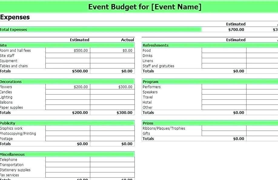 Excel Event Budget Sheet Template