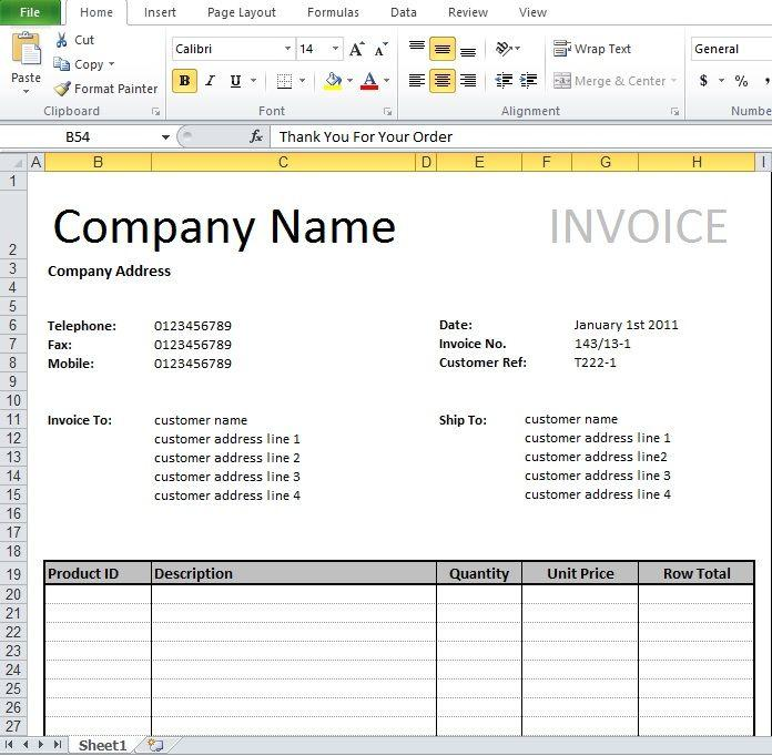 Excel Invoice Template Download