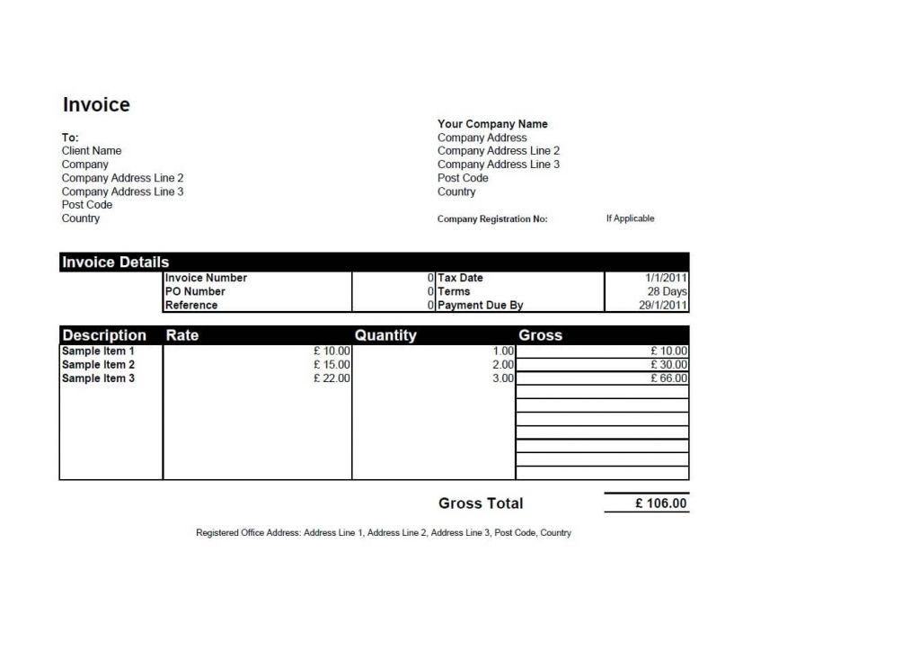 Excel Invoice Templates Uk
