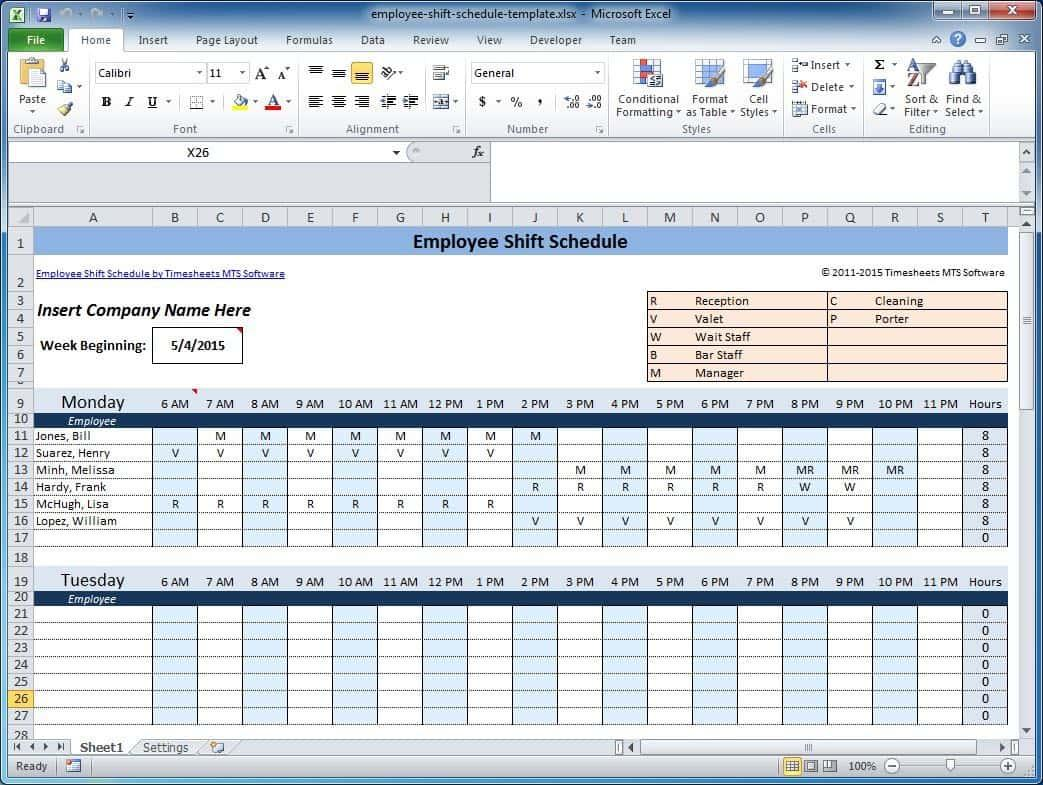 Excel Monthly Shift Schedule Template
