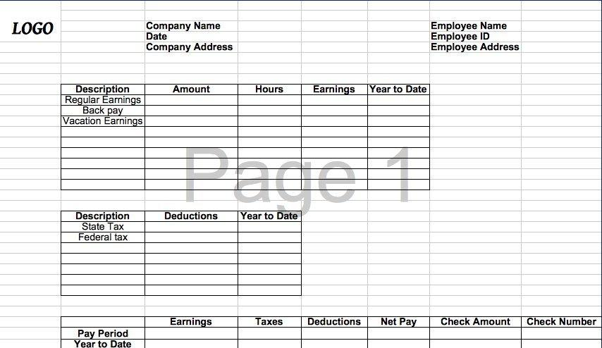 Excel Paycheck Stub Template
