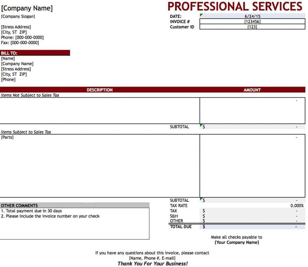 Excel Professional Services Invoice Template