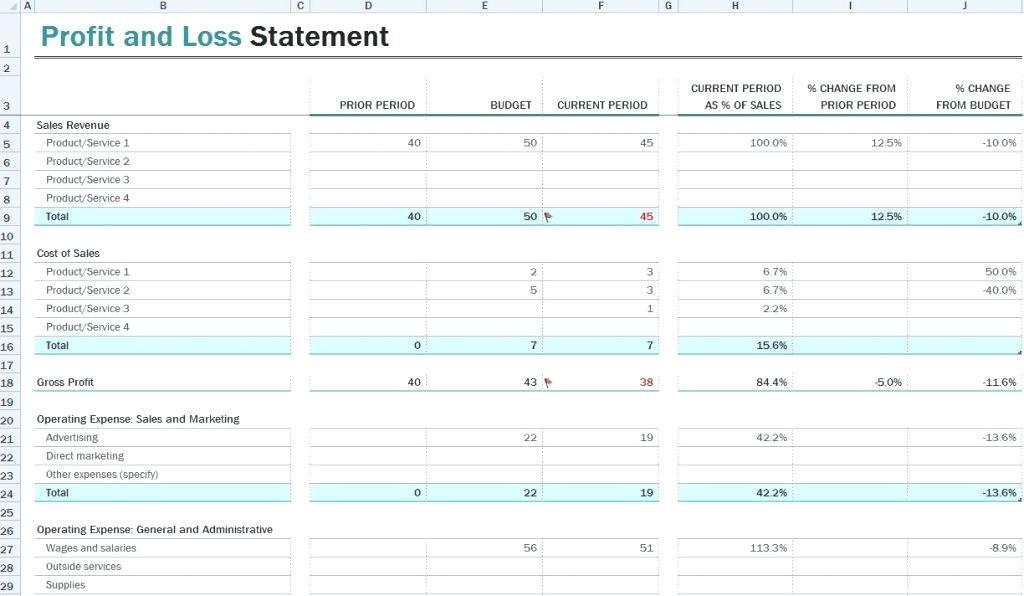Excel Profit And Loss Template Uk
