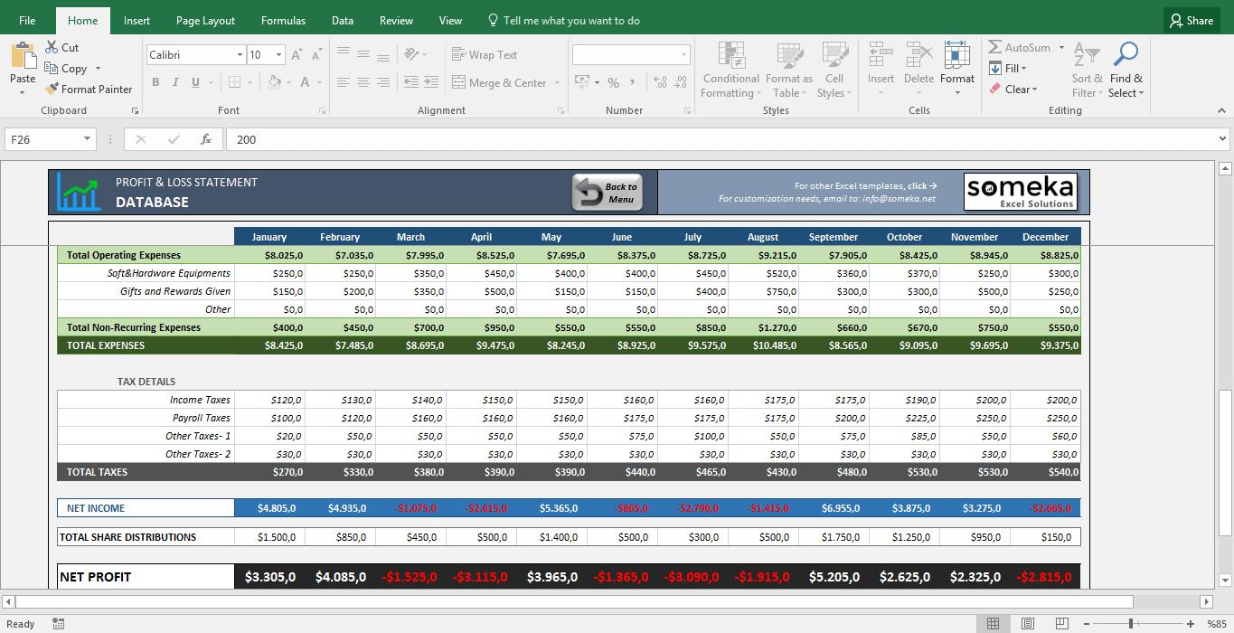 Excel Profit Loss Template Free