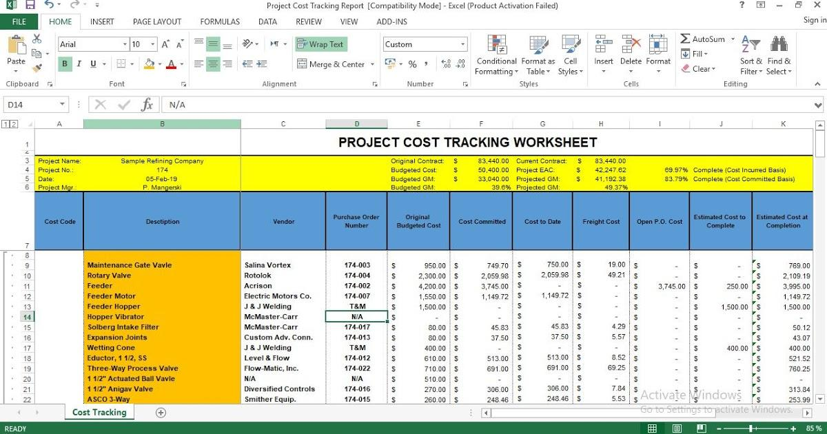 Excel Project Cost Tracking Template