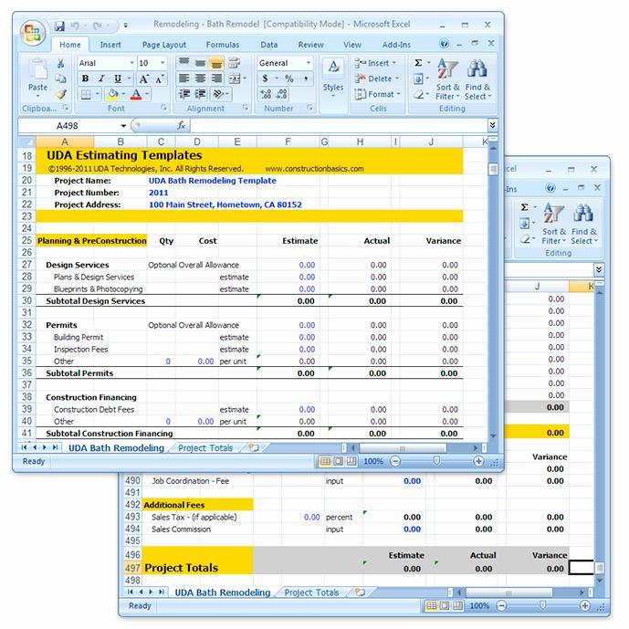 Excel Remodeling Estimate Templates