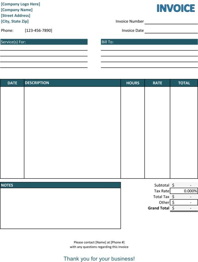 Excel Service Invoice Template
