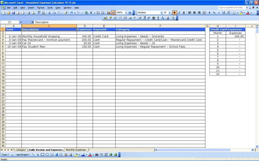 Excel Sheet Template For Monthly Expenses